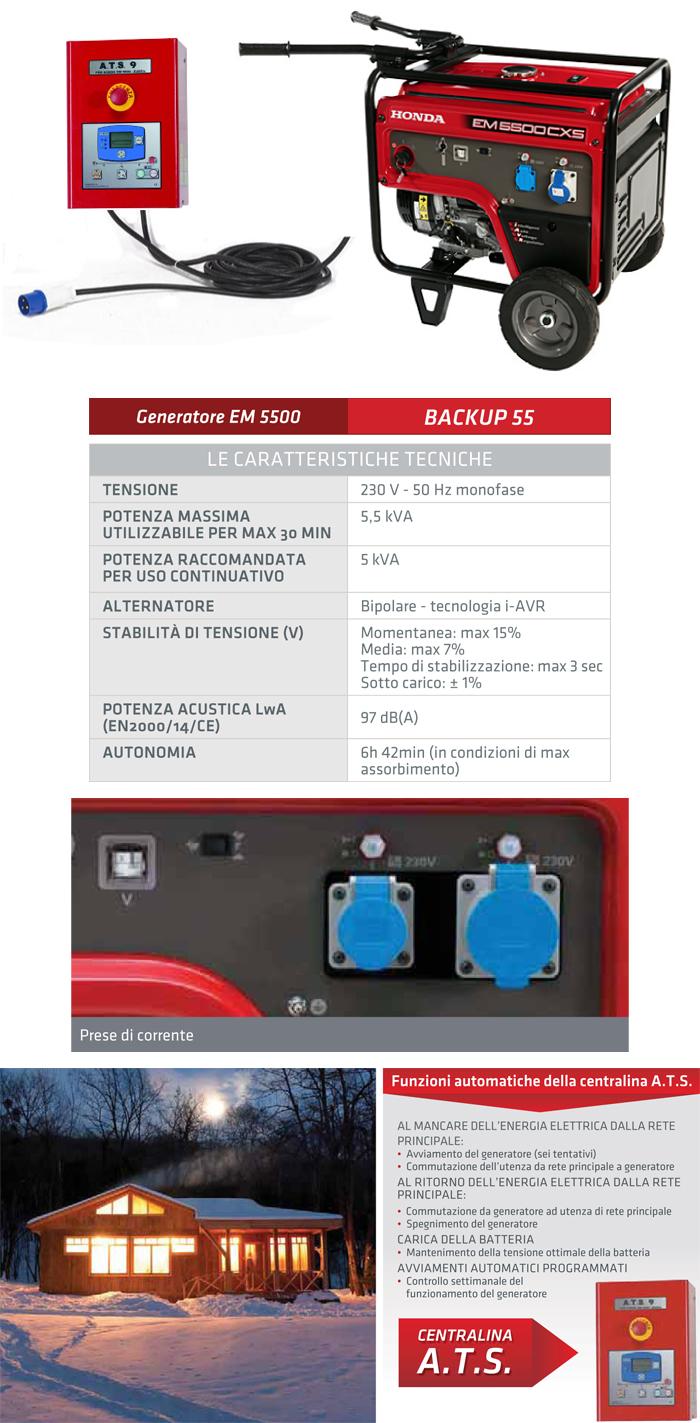 Generatore di corrente i avr di emergenza 5 5 kw honda for Generatore emergenza casa