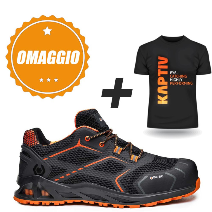 purchase cheap b6f5f c8dbe Scarpe antinfortunistiche basse Base KAPTIV K-STEP B1004A - S1P HRO SRC con  MAGLIETTA