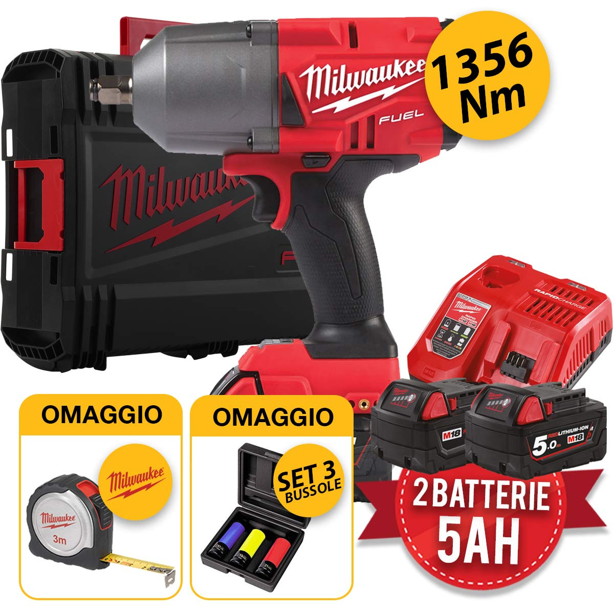Milwaukee M18 FHIWF12-502X - Avvitatore ad impulsi m18 fuel