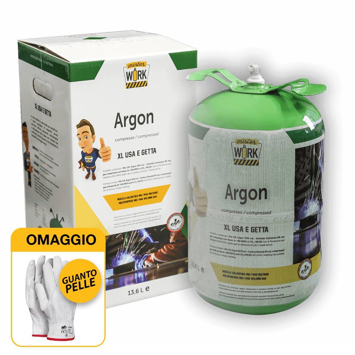Helvi Misterwork - Bombola gas Argon 14 litri per saldatura (0,9 M3) A RENDERE