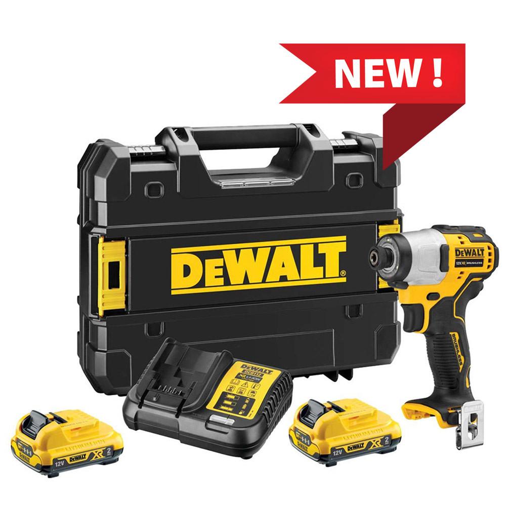 "Dewalt DCF801D2 Compact - Avvitatore ad impulsi 1/4"" 12V con 2 batterie da 2Ah"