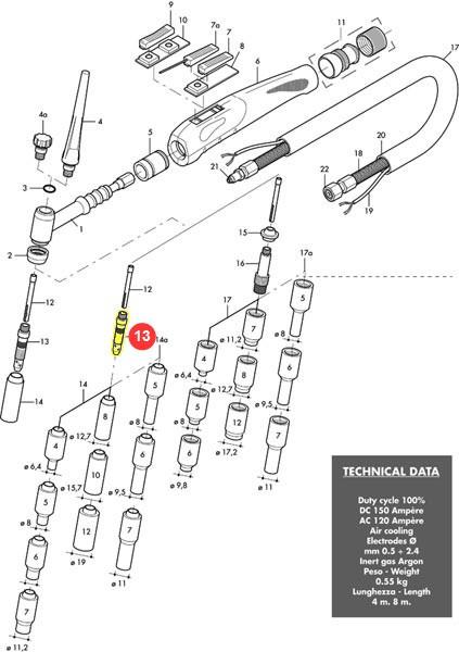 Porta-pinza per Holtig 17 e 26 Ø2,4mm (HT10N32)