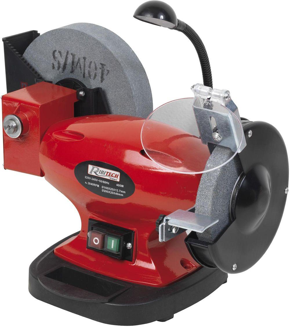 Smerigliatrice da banco combinata 400W con 1 mola da 150mm, 1 mola ad acqua da 200mm e lampada - Ribitech PRTMEMIX400