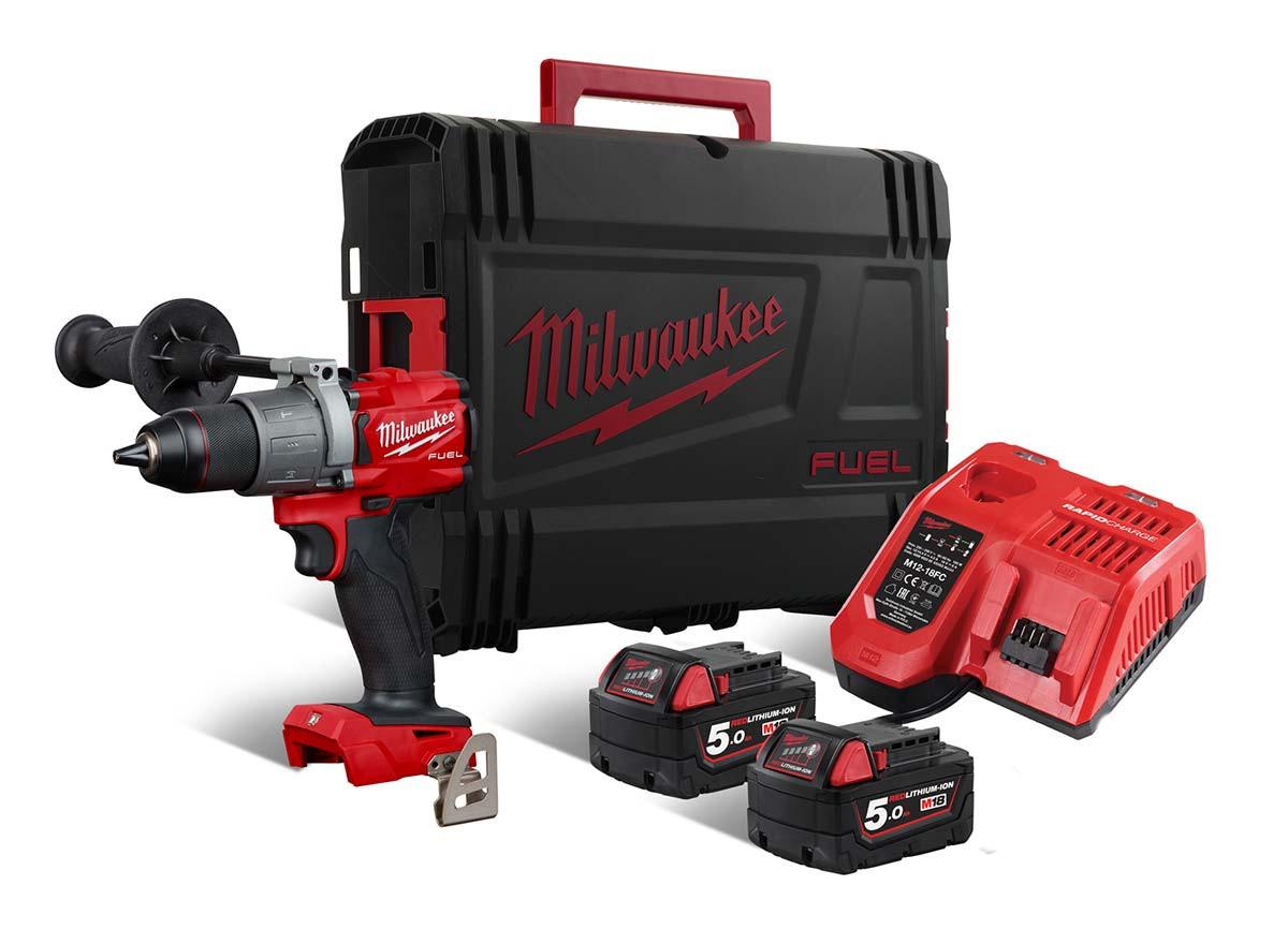 Milwaukee M18 FPD2 - Trapano avvitatore 18V Fuel, 2 batterie da 5.0Ah in valigetta Heavy Duty