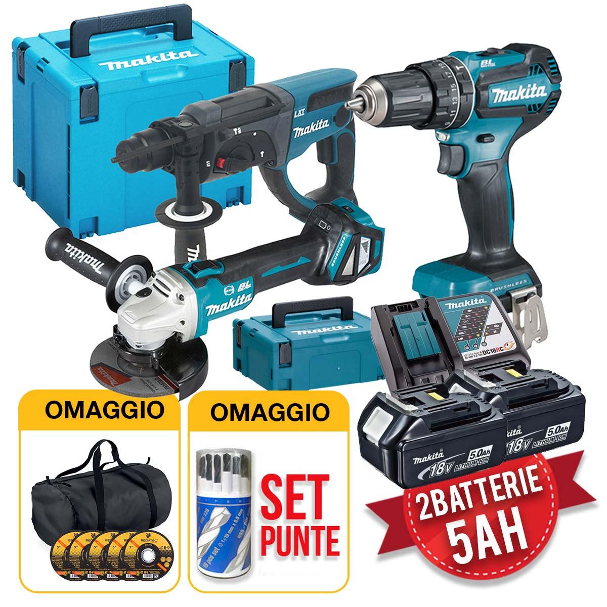 Makita kit utensili 18V - Trapano, Smerigliatrice, Tassellatore, 2 batterie 5Ah