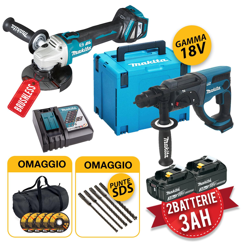 Makita kit utensili a batteria 18v - Trapano, Smerigliatrice, 2 batterie 3Ah