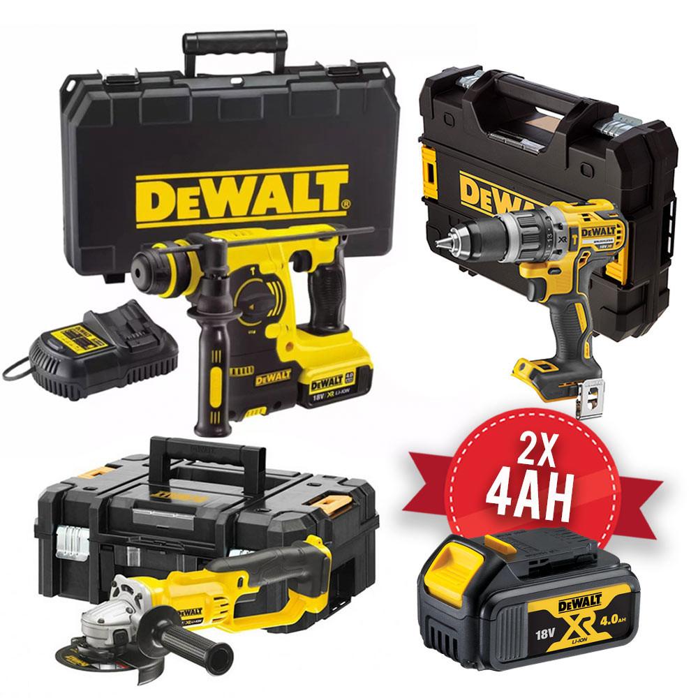 Kit Dewalt 18V - Trapano DCD796 - Smerigliatrice DCG412 - Tassellatore DCH253, 2 x 4Ah