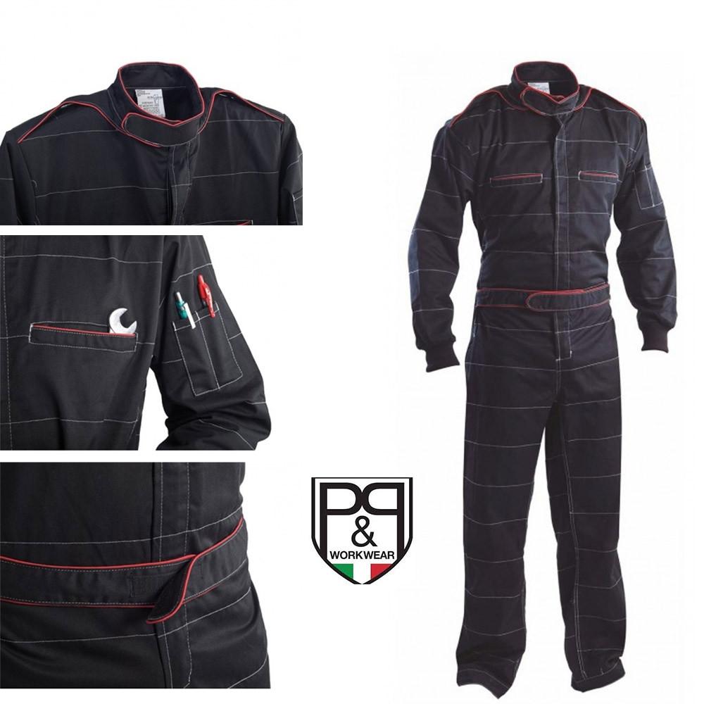 Tuta da meccanico P&P Loyal Monaco, nera/rossa
