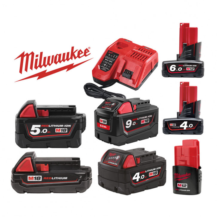 Batteria Milwaukee Kit configurabile M12 M18 2Ah, 4Ah, 5Ah, 6Ah