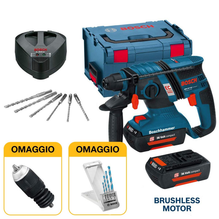 Trapano tassellatore a batteria Brushless Bosch GBH 36 V-EC Compact