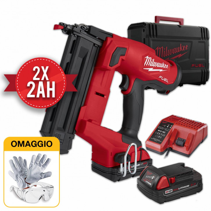 MILWAUKEE M18 FN18GS-202X GROPPINATRICE CHIODATRICE A BATTERIA 18 GA - 2X2AH