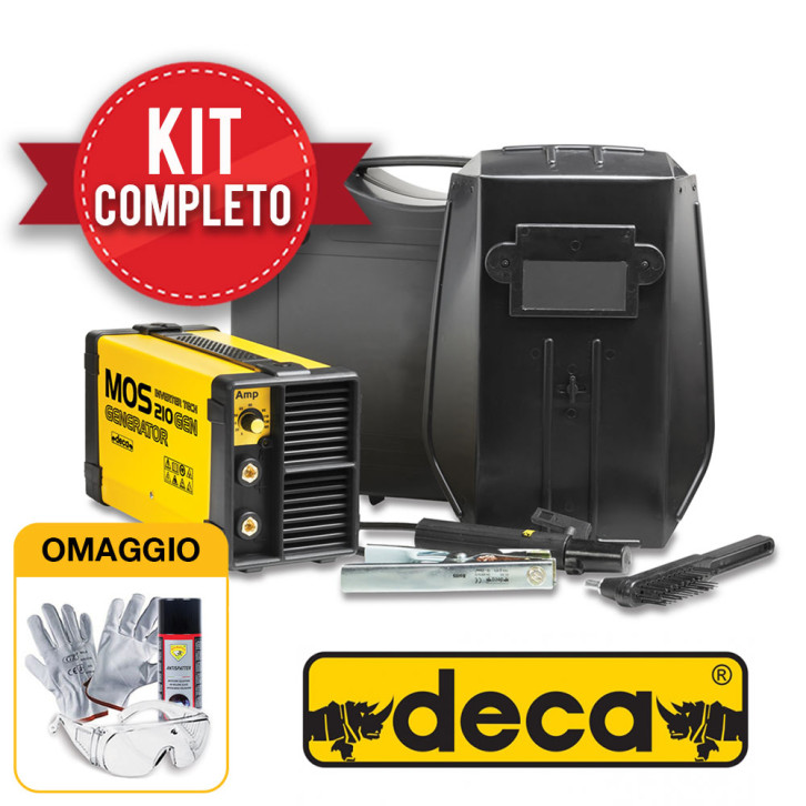 Saldatrice inverter Deca MOS 210 GEN (165 A) con KIT completo pronta all'uso
