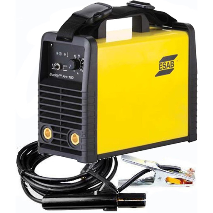 Saldatrice inverter Esab Buddy Arc 180 (180 A) con cavi e pinze pronta all'uso