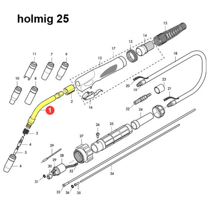 Corpo torcia completo per Holmig 25 (HG025)