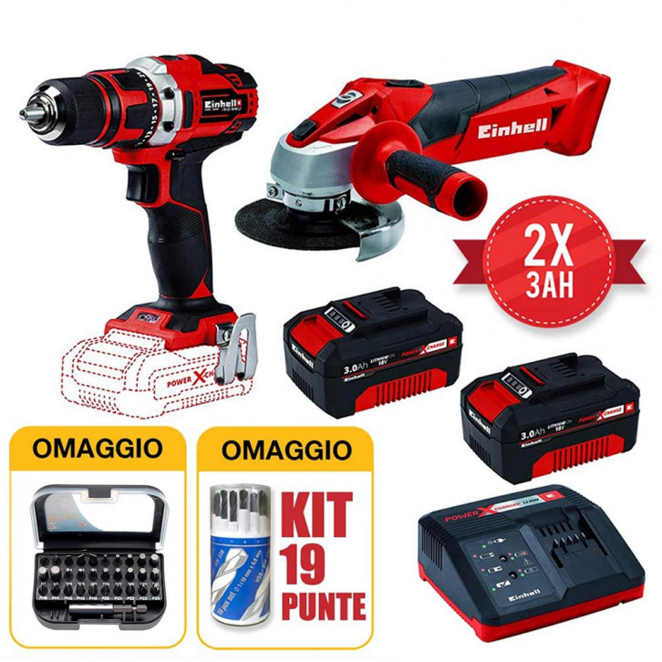 Kit einhell avvitatore TE-CD 18/40 Li + smerigliatrice TC-AG 18/115 Li + 2 batterie 3AH black friday