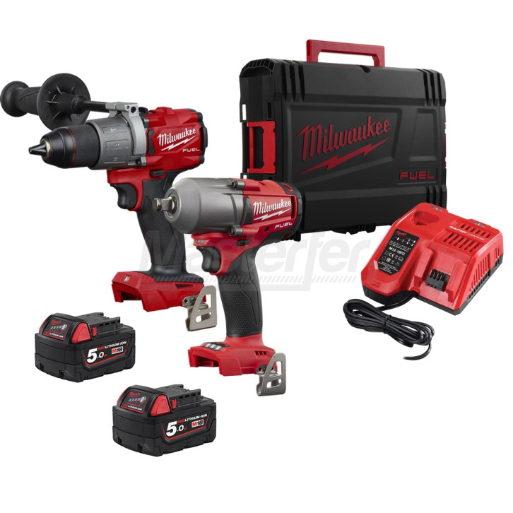 Kit Milwaukee 18V Trapano a percussione M18FPD2 + Avvitatore ad impulsi FMTIWF12 600NM