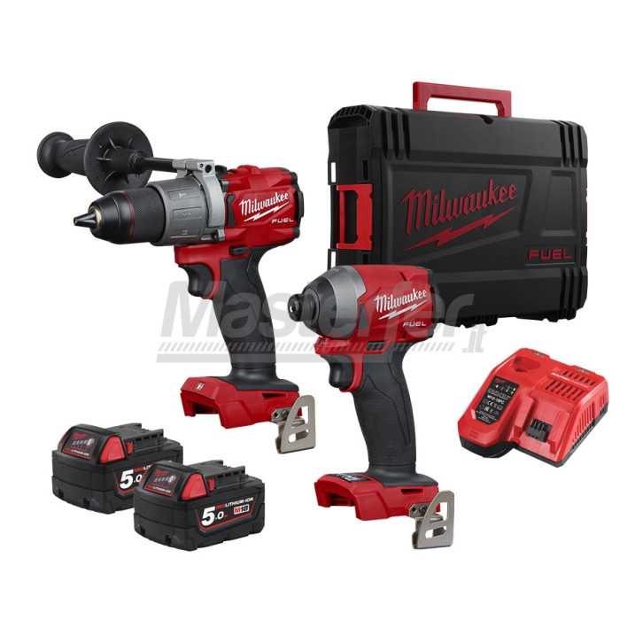 "Kit Milwaukee 18V Fuel Trapano a percussione M18FPD2 + Avvitatore ad impulsi 1/4"" M18FID2 (Due batterie 5Ah + Valigetta)"
