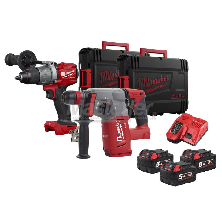 Kit Milwaukee 18V Fuel Tassellatore sds-plus M18 CHX + Trapano a percussione M18 FPD2 + 3 Batterie 5Ah + 2 Valigette