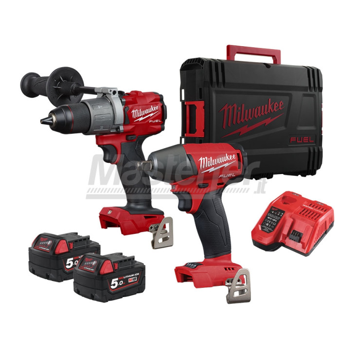 "Kit Milwaukee 18V Fuel Trapano a percussione M18FPD2 + Avvitatore ad impulsi 1/2"" M18 FIWF (Due batterie 5Ah + Valigetta)"