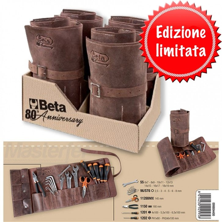 Beta 2001E4/B20-80 Custodia arrotolabile in pelle vintage con 20 utensili