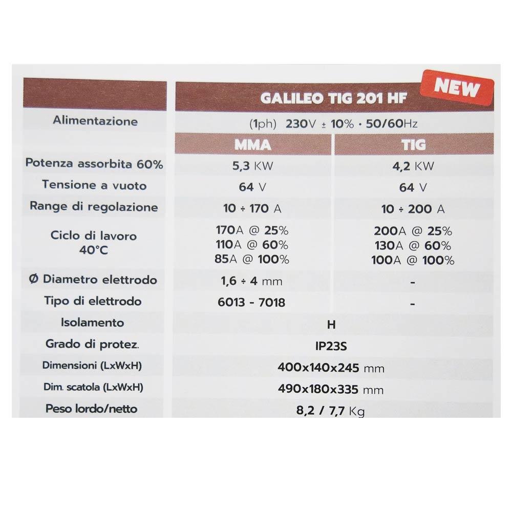 galileo tig 201 hf saldatrice tig e elettrodo dati tecnici