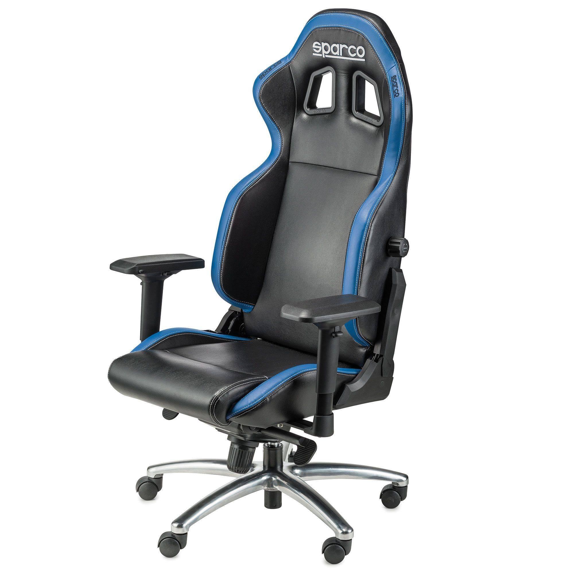 Sedia Poltrona Da Ufficio Sparco R100s Nero Azzurro Sedile Sportivo In Pelle