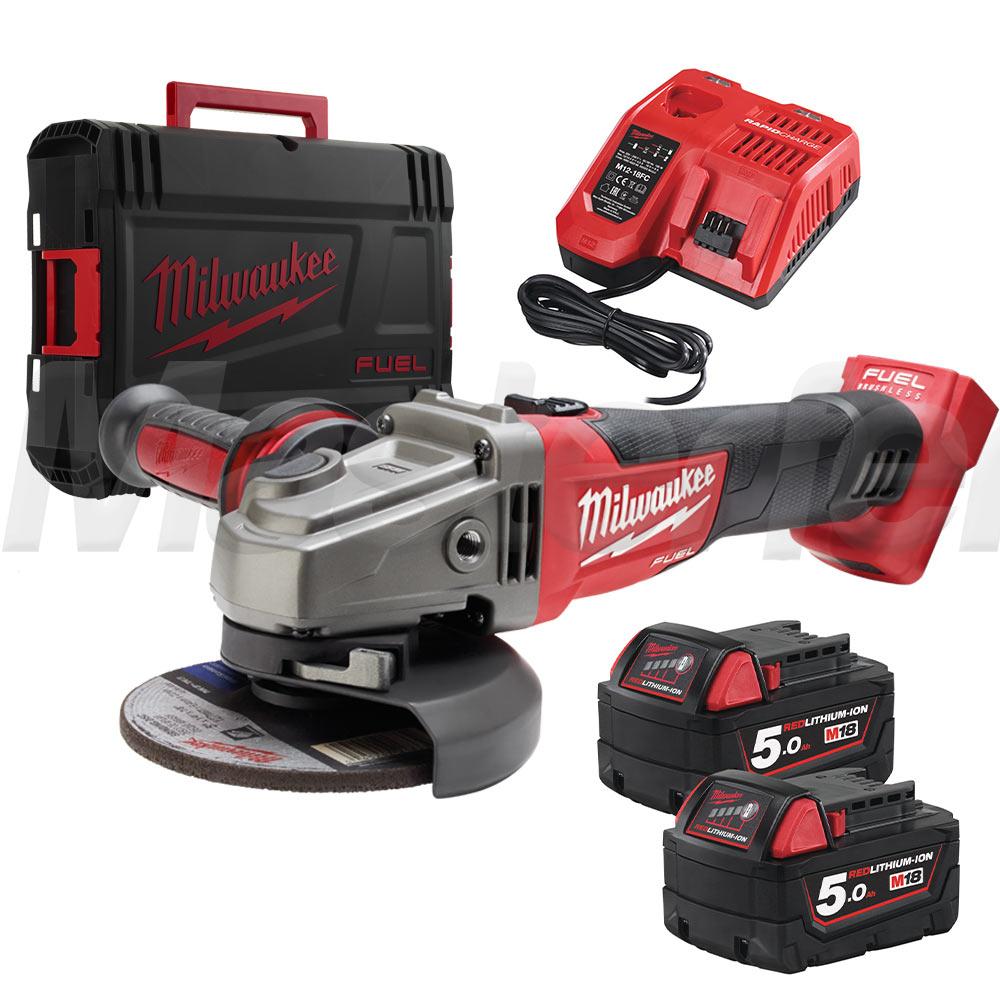 smerigliatrice a batteria milwaukee m18 cag125x-502x due batteria 5ah e valigetta