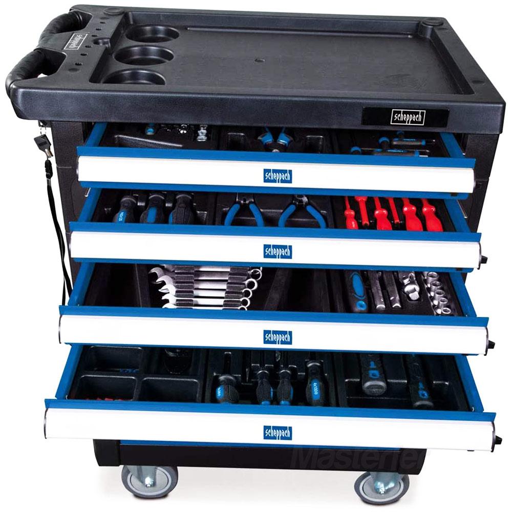 carrello scheppach completo di 263 utensili con cassetti aperti