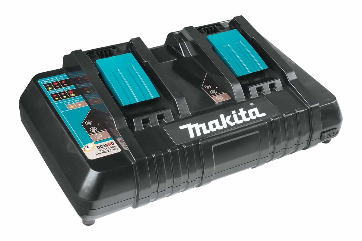 Caricabatterie veloce con doppio slot, Makita DC18RD (14,4V - 18V)